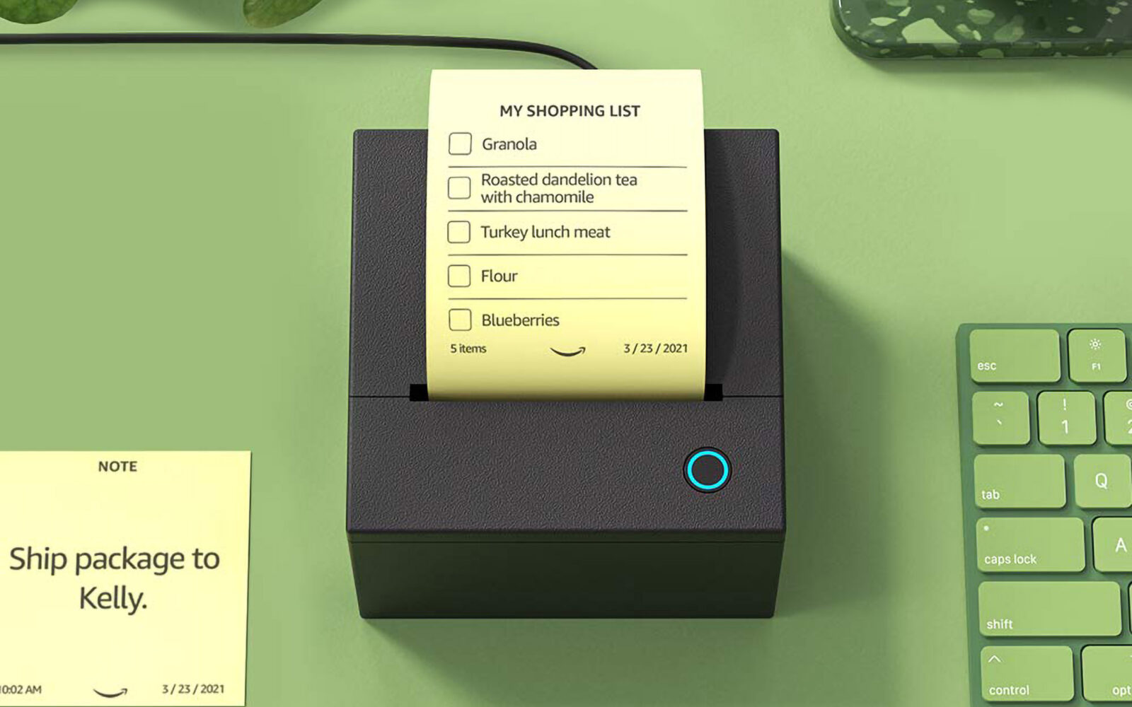 Amazon Smart Sticky Note a small thermal printer that works with Alexa